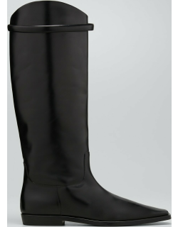 Square-Toe Leather Riding Boots