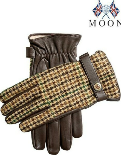 Dents Men's Cashmere Lined Abraham Moon Tweed & Leather Gloves In Brown/brown