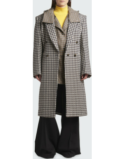 Checked Double-Breasted Long Wool Coat