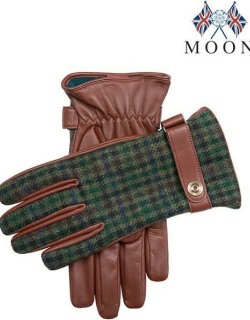 Dents Men's Cashmere Lined Abraham Moon Tweed & Leather Gloves In Eng Tan/forest