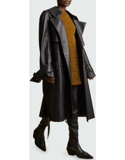 Nedding Leather Belted Trench Coat