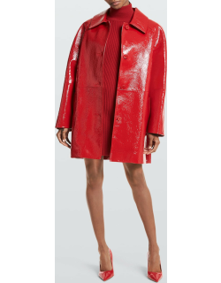 Crackle Patent Leather Balmacaan