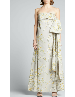Martin Daisy-Print Strapless Gown w/ Side-Bow