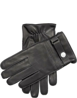 Dents Men'S Cashmere Lined Leather Gloves With Contrast Stitching In Black/grey/pewter
