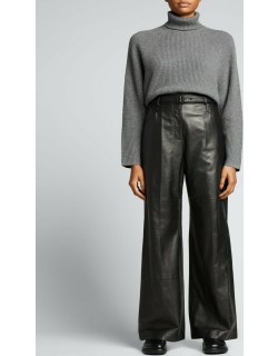 Norman Straight-Leg Belted Leather Pants