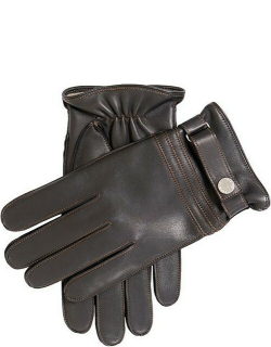 Dents Men'S Cashmere Lined Leather Gloves With Contrast Stitching In Black/high Tan