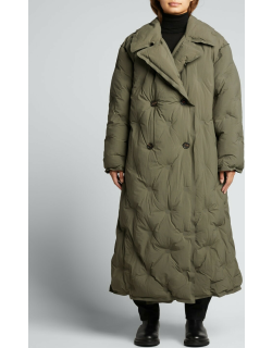 Quilted Double-Breasted Long Puffer Coat