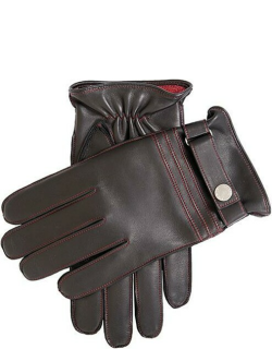Dents Men'S Cashmere Lined Leather Gloves With Contrast Stitching In Black/red