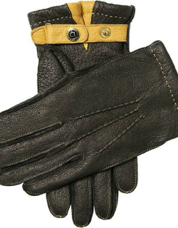 Dents Men'S Cashmere Lined Peccary Leather Gloves In Black/cork/cork/beige