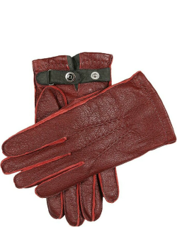 Dents Men'S Cashmere Lined Peccary Leather Gloves In Kirsch/grey/grey/pewter