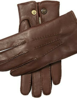 Dents Men's Lambskin Lined Leather Gloves In Eng Tan