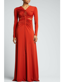 Baylee Shirred Jersey Cutout Gown