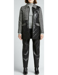 Susan Vegan-Leather Quilted Peacoat