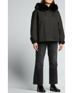 Fox-Trim Hooded Jacket with Rabbit Lining