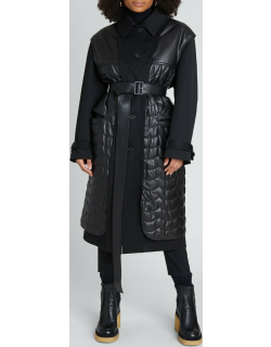 Utilitarian Wool Coat w/ Removable Leather Gilet