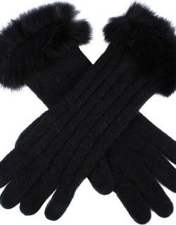 Dents Women's Cable Knit Gloves With Fur Cuffs In Black