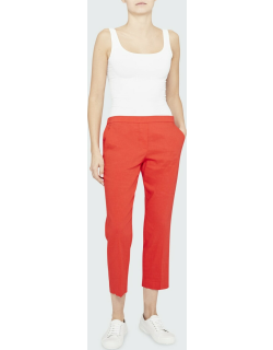Treeca Good Linen Cropped Pull-On Ankle Pants