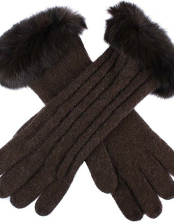 Dents Women's Cable Knit Gloves With Fur Cuffs In Chocolate