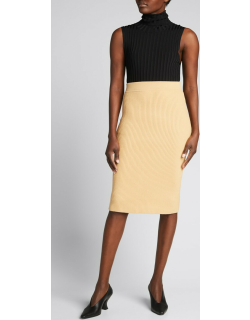 Ribbed Cashmere Pencil Skirt