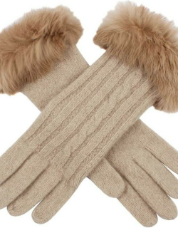 Dents Women's Cable Knit Gloves With Fur Cuffs In Oatmeal