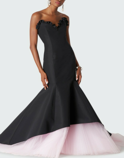 Sweetheart-Neck Colorblock Trumpet Gown
