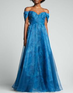 Capelet-Sleeve A-Line Organza Gown