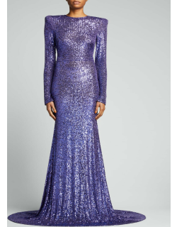 Strong-Shoulder Sequin Gown