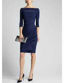Melania Off-the-Shoulder 3/4-Sleeve Dress w/ Front Cutout