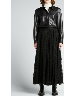 Abstract Lace Pleated Maxi Skirt