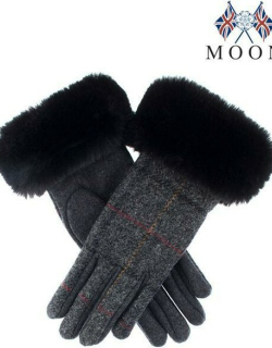 Dents Women's Abraham Moon Tweed Gloves With Faux Fur Cuffs In Charcoal