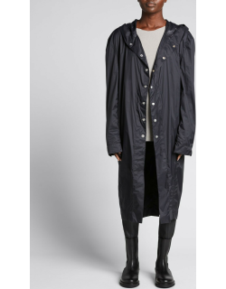Snap-Front Hooded Overcoat