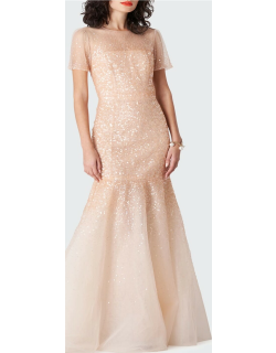 Sequin Tulle Illusion Gown