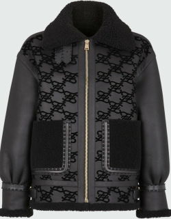 Leather Karligraphy Embroidered Shearling Coat