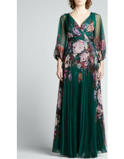 V-Neck Floral Chiffon Gown w/ Pleated Skirt