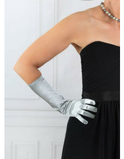 Dents Women's Mid-Length Satin Gloves In Silver
