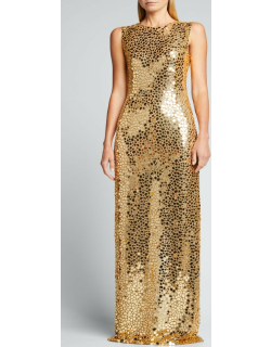 Mirror-Embroidered Column Gown