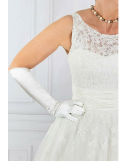 Dents Women's Long Satin Gloves With Buttons In Ivory