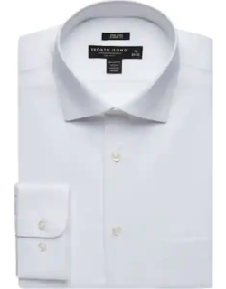 Pronto Uomo Men's Big and Tall White Queens Oxford Classic fit Dress Shirt