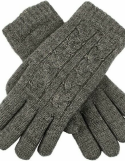 Dents Women's Cable Knit Gloves In Charcoal