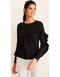 Ann Taylor Ribbed Ruffle Sweater