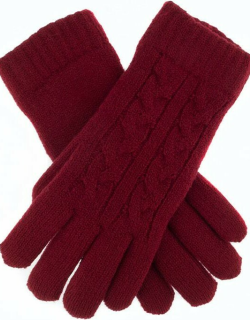 Dents Women's Cable Knit Gloves In Claret