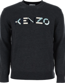 KENZO SWEATER WITH MULTICOLOUR LOGO EMBROIDERY XL Grey Wool
