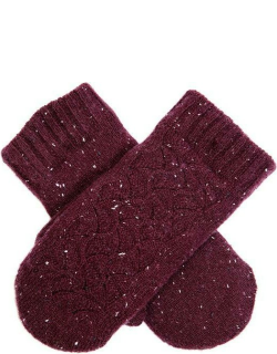 Dents Women's Lace Knit Mittens In Claret