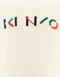 KENZO SWEATER WITH MULTICOLOUR LOGO EMBROIDERY XL White Wool