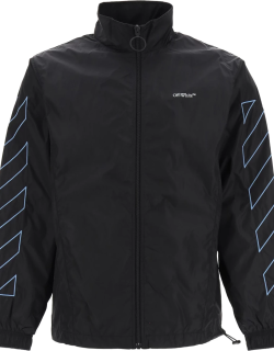 OFF-WHITE NYLON JACKET WITH DIAG EMBROIDERY M Black, Blue Technical