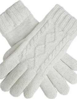 Dents Women's Metallic Cable Knit Gloves In Winter White
