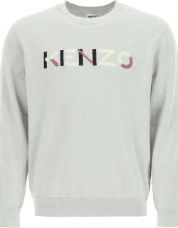KENZO SWEATER WITH MULTICOLOUR LOGO EMBROIDERY M Grey, Black, Yellow Cotton