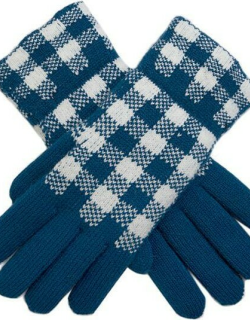 Dents Women's Gingham Knitted Gloves In Teal