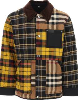 BURBERRY PATCHWORK QUILTED JACKET M Yellow, Brown, Black Cotton