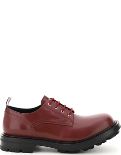 ALEXANDER MCQUEEN WORKER LACE-UP SHOES 41 Red, Black Leather